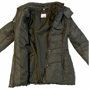 olive green puffy jacket